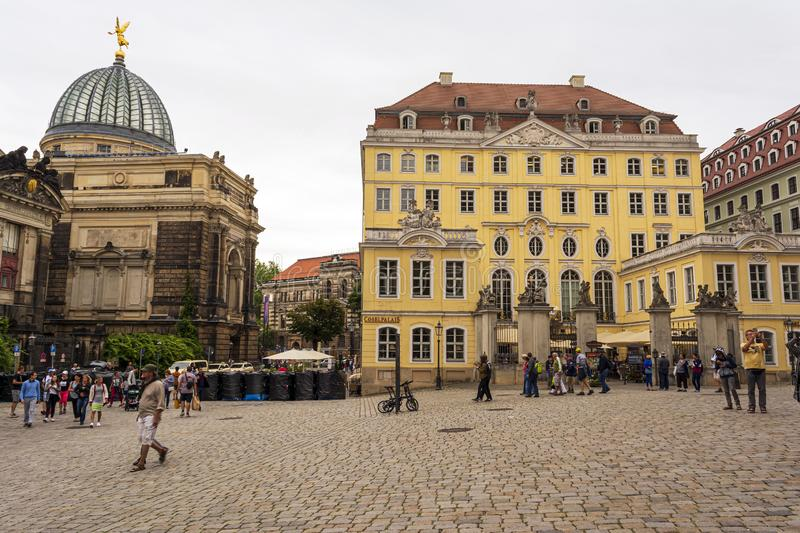 View from Frauenkirche towards An der Frauenkirche Street with Academy of Fine Arts in Dresden, Germany. Dresden, Germany - August 15, 2019: View from royalty free stock image