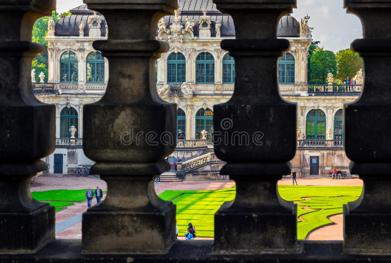 Dresden, Germany- baroque pavilions- palace Zwinger. View through balusters upper terrace stock images