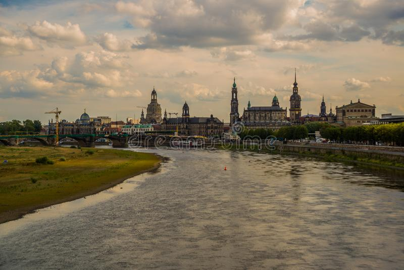 DRESDEN, GERMANY: Beautiful scenery from the waterfront to the old town, the historic center and the Elbe river in Dresden royalty free stock image