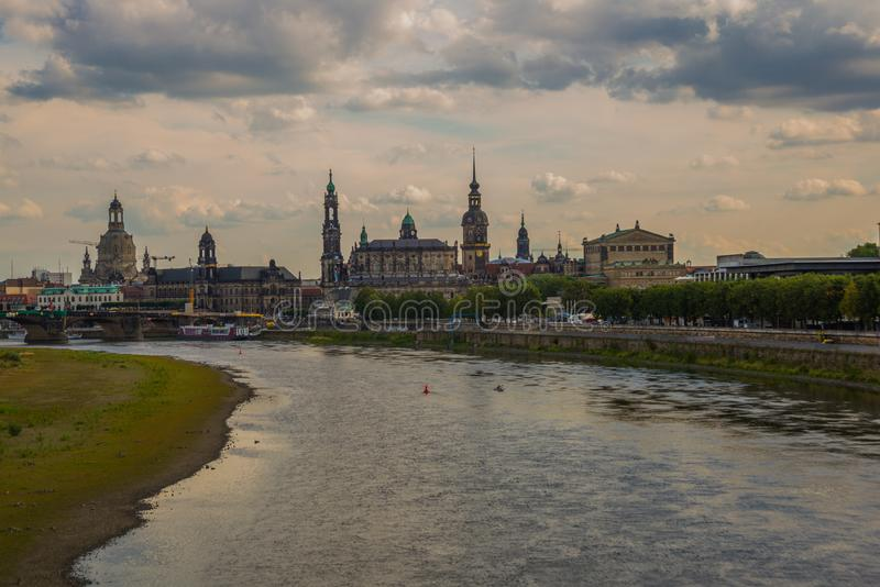 DRESDEN, GERMANY: Beautiful scenery from the waterfront to the old town, the historic center and the Elbe river in Dresden royalty free stock images