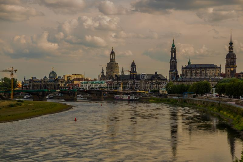 DRESDEN, GERMANY: Beautiful scenery from the waterfront to the old town, the historic center and the Elbe river in Dresden stock photos