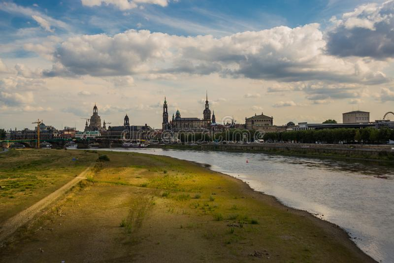 DRESDEN, GERMANY: Beautiful scenery from the waterfront to the old town, the historic center and the Elbe river in Dresden royalty free stock photo