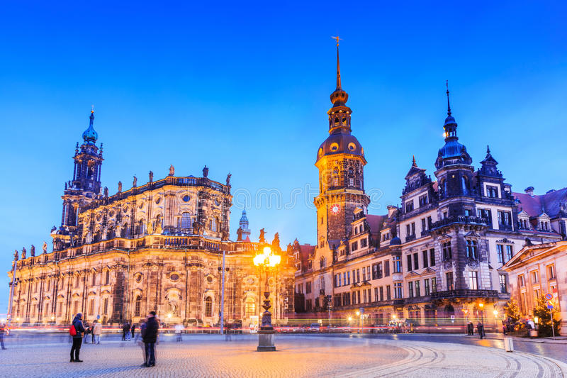Dresden, Germany. Cathedral of the Holy Trinity or Hofkirche and Dresden Castle royalty free stock photography
