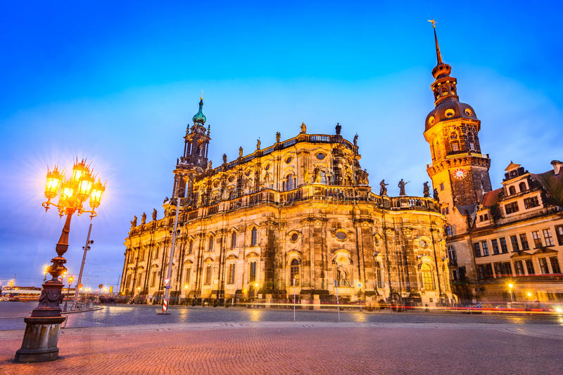 Dresden, Germany. Cathedral of the Holy Trinity or Hofkirche, Saxony royalty free stock image