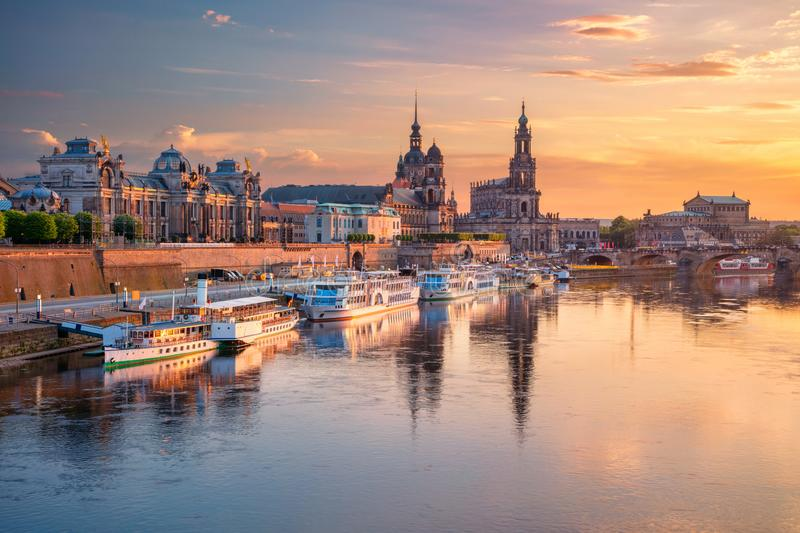 Dresden, Germany. Cityscape image of Dresden, Germany with reflection of the city in the Elbe river, during sunset stock photos