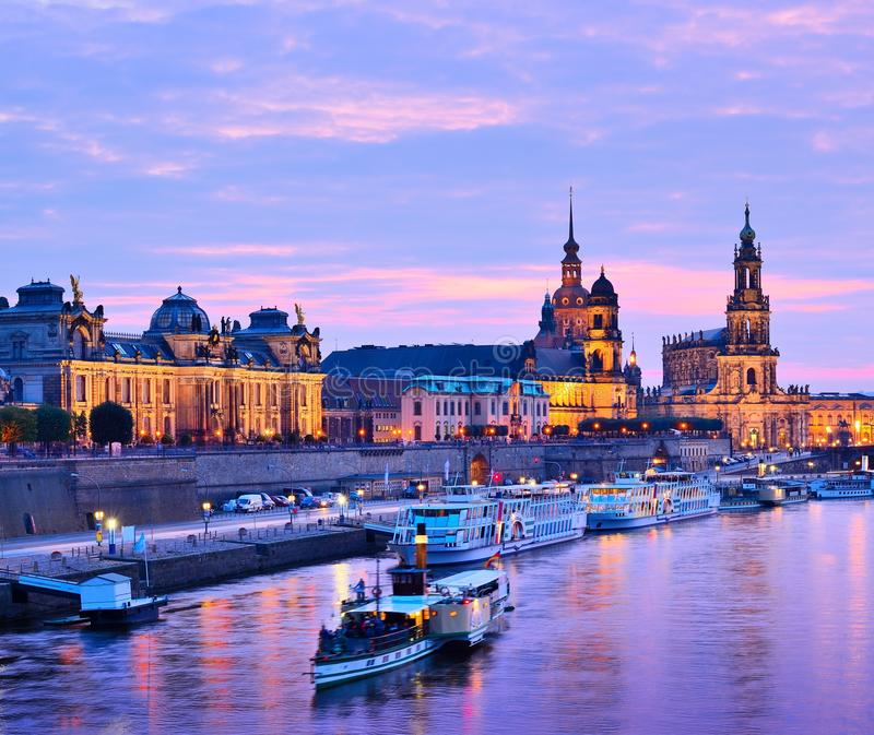 Dresden Germany. Dresden, Germany cityscape over the Elbe River royalty free stock image