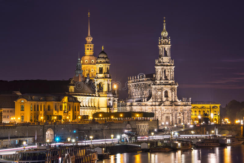 Dresden Germany. Dresden, Germany cityscape over the Elbe River royalty free stock photography