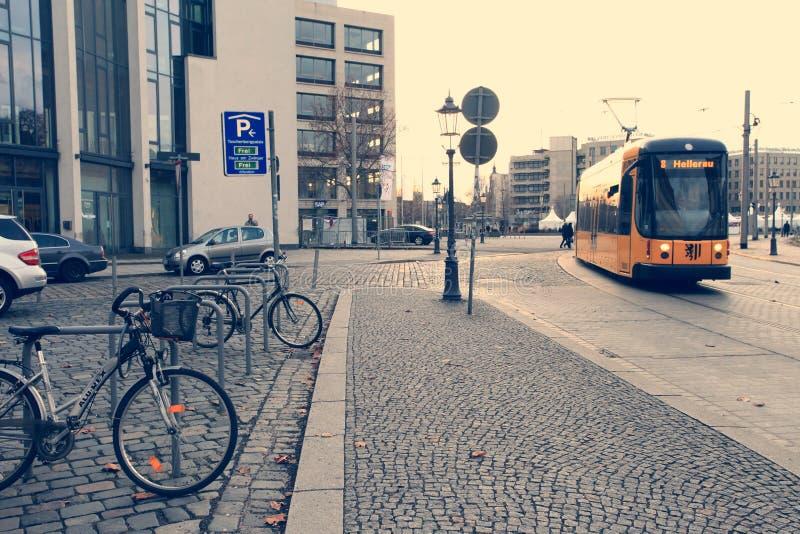 DRESDEN, GERMANY - December 25, 2012: modern transportation. Tram stock photo