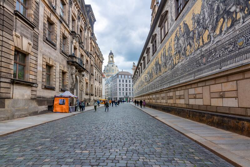 Dresden, Germany - May 2019: Procession of Princes Furstenzug on the outside wall of Dresden Castle royalty free stock photo