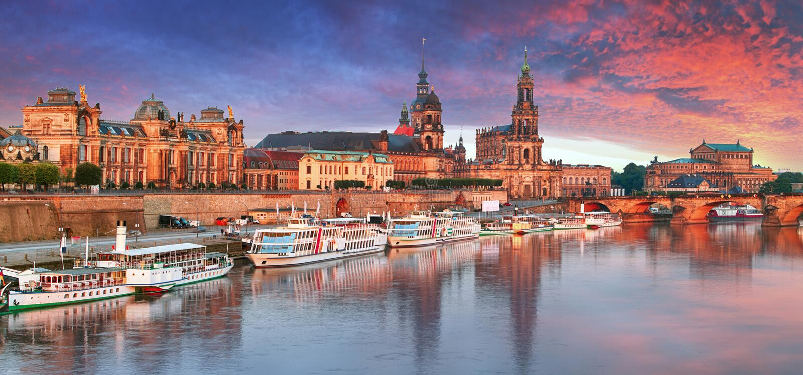 Dresden, Germany old town skyline on the Elbe River.  royalty free stock photo