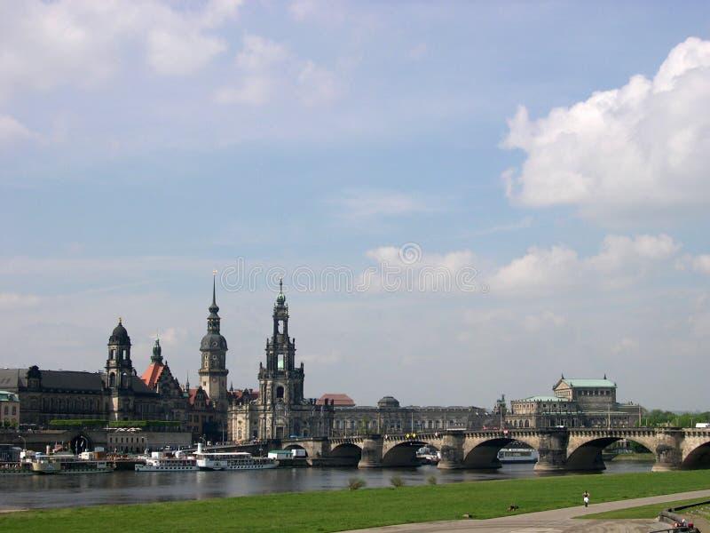 Dresden Germany Panorama Arkivfoton