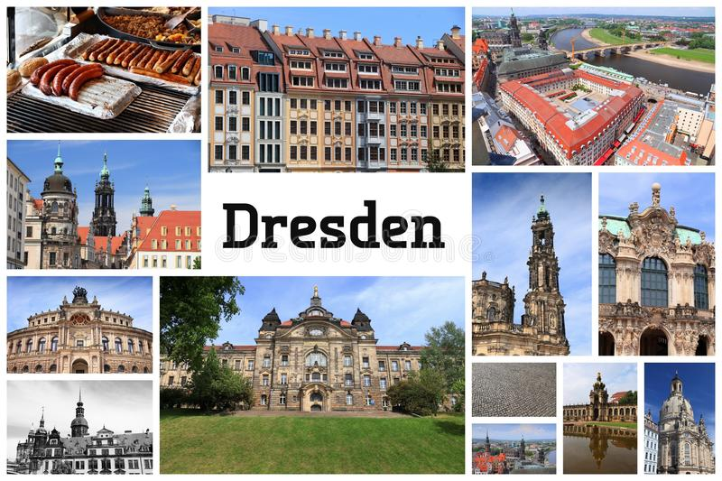 Dresden, Germany. Postcard - travel place landmark photo collage royalty free stock photo