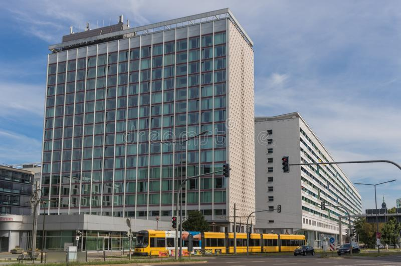The soviet architecture in Dresden stock photography