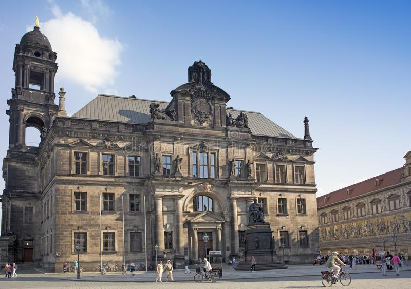 DRESDEN, GERMANY - SEPTEMBER 17, 2014: The monument to Frederick Augustus I king of Saxony near the Court of Appeal stock photos