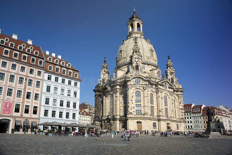 DRESDEN, GERMANY - SEPTEMBER 17, 2014: People walk in the center of Old town, near Frauenkirche Our Lady church royalty free stock photos