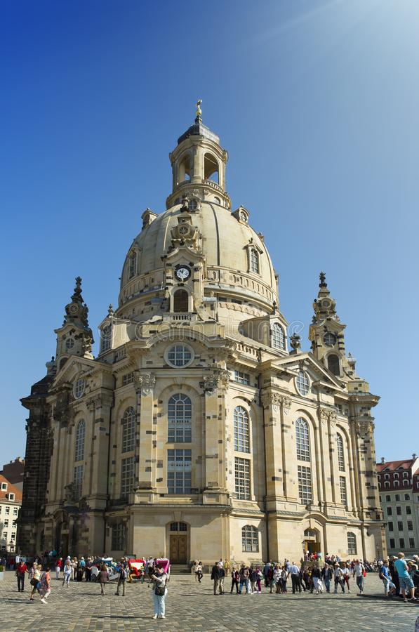 DRESDEN, GERMANY - SEPTEMBER 17: People walk on Neumarkt Square at Frauenkirche Our Lady church in the center of Old town stock photos