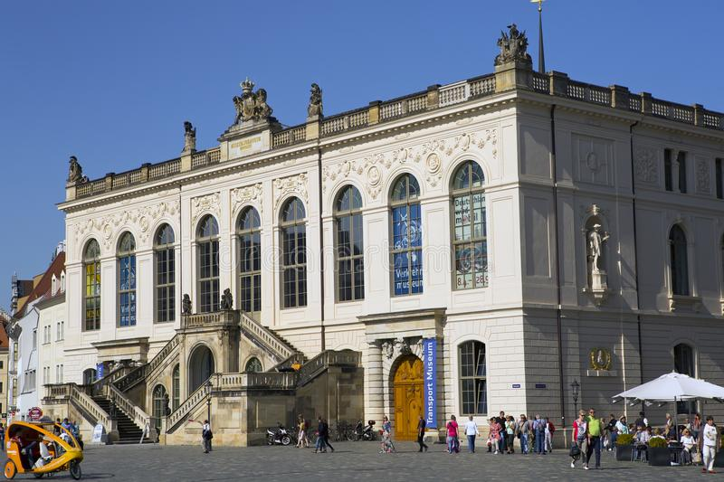 DRESDEN, GERMANY - SEPTEMBER 17:Dresden Transport Museum on the Neumarkt Square royalty free stock photography