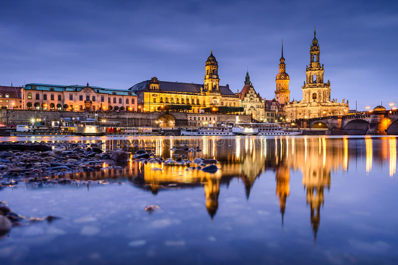 Dresden Germany Skyline. Dresden, Germany old town skyline on the Elbe River stock images
