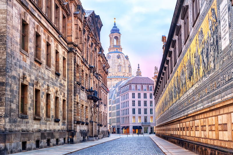 Dresden, Germany. View of the Frauenkirche cathedral and Procession of Princes wall in Dresden, Germany stock images