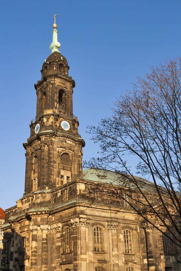 Dresden Kreuzkirche stock image