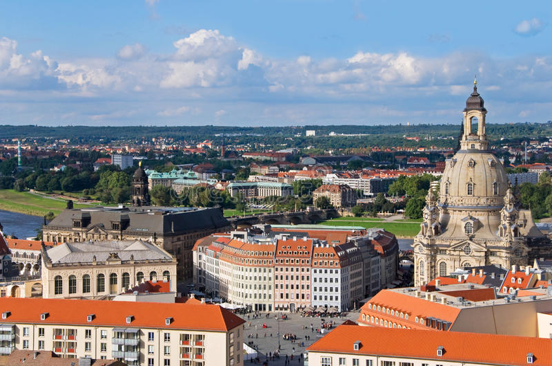 Dresden-Luftaufnahme lizenzfreies stockbild