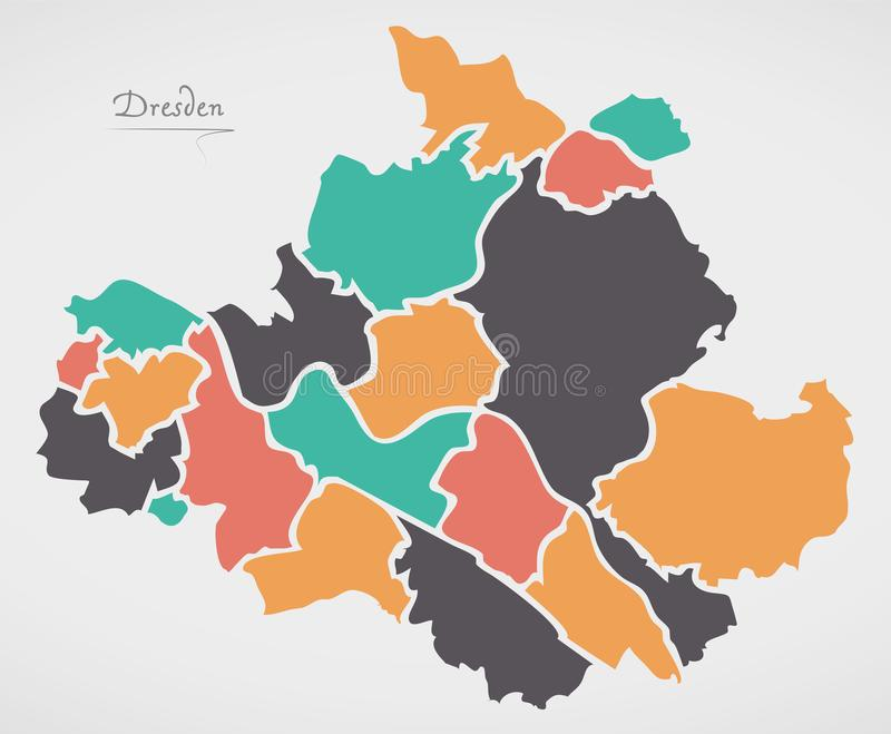 Dresden Map with boroughs and modern round shapes. Illustration royalty free illustration