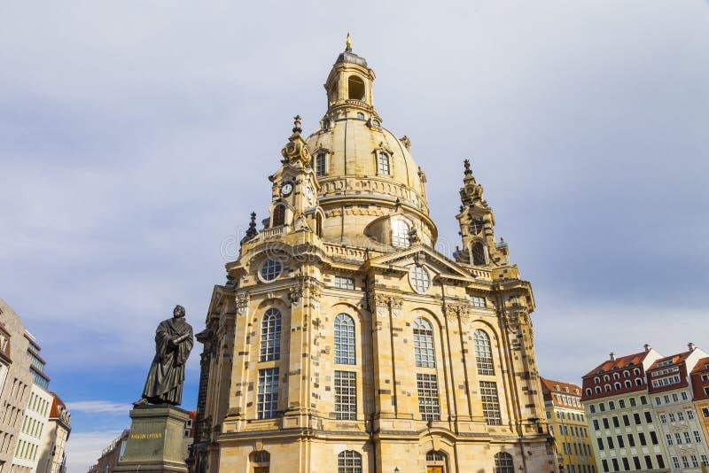 Dresden - mening van Frauenkirche-kathedraal stock foto