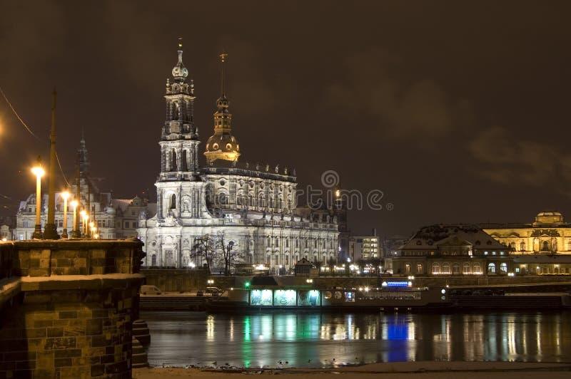 Dresden na noite imagens de stock royalty free