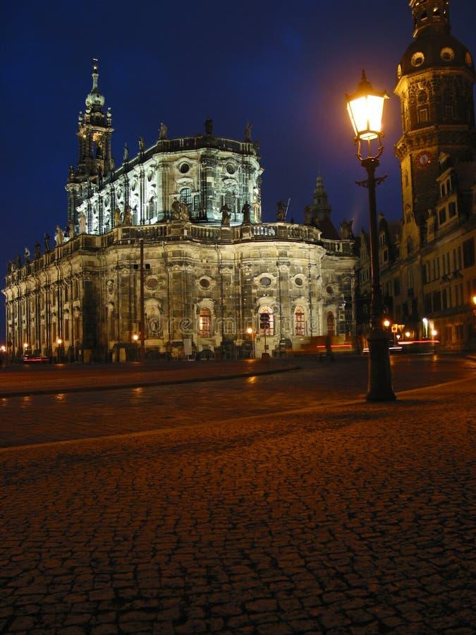 Dresden nachts, Deutschland lizenzfreies stockfoto