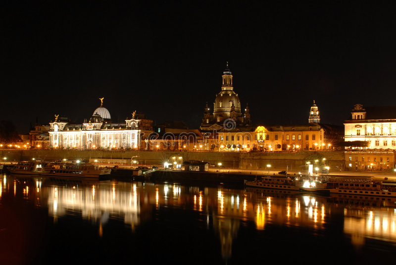 Dresden at night royalty free stock image