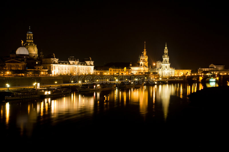 Dresden at night 3 stock images