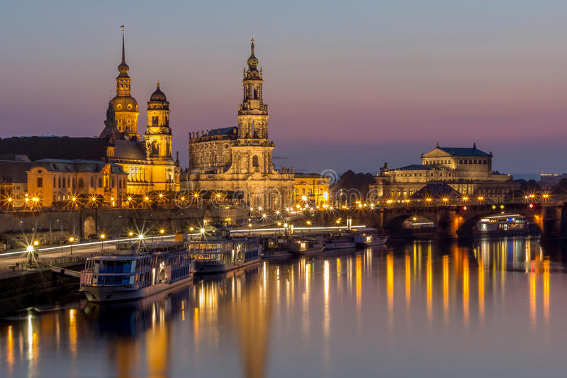 Download Dresden Night Cityscape-Bruehl Terrace, Hofkirche Church, Royal Palace, Semper Opera Stock Photo - Image of lanterns, cathedral: 59939724