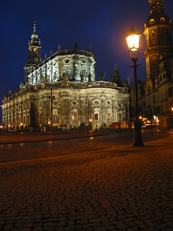 Dresden at night, Germany. Kreuzkirche, Dresden, Germany royalty free stock photo