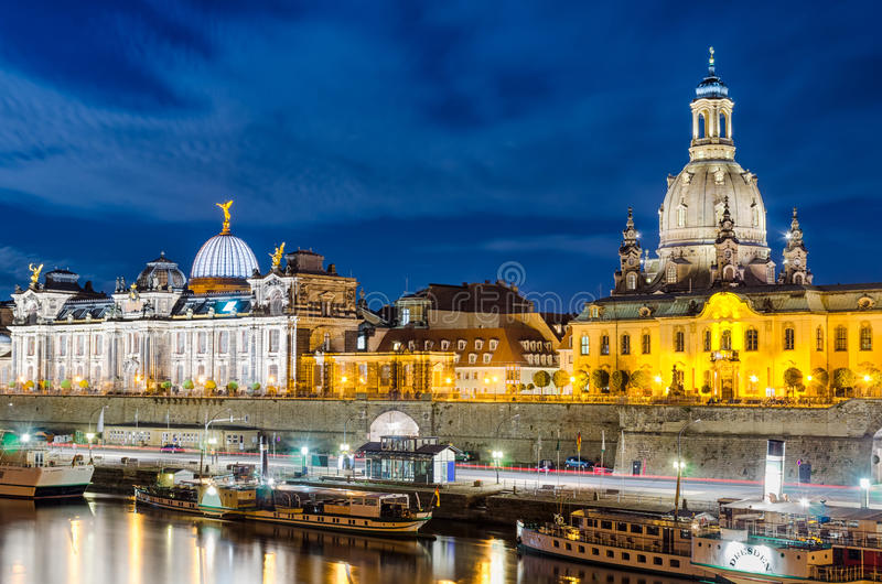 Dresden at night, Germany. Frauenkirche and the Elbe river at night in Dresden, Germany royalty free stock photo