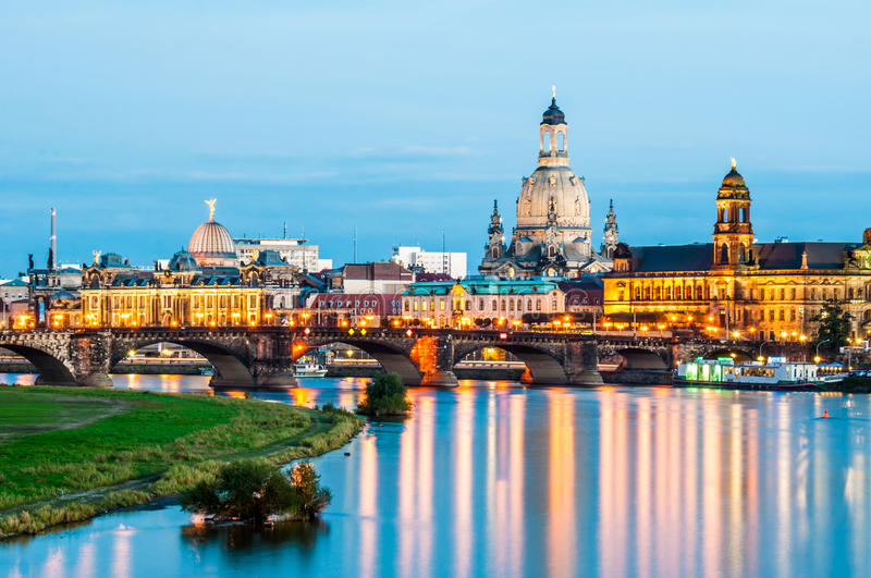 Dresden at night stock photography