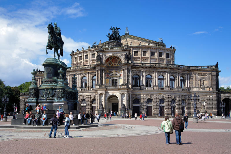 Dresden Opera House And Monument To King John Editorial Stock Photo