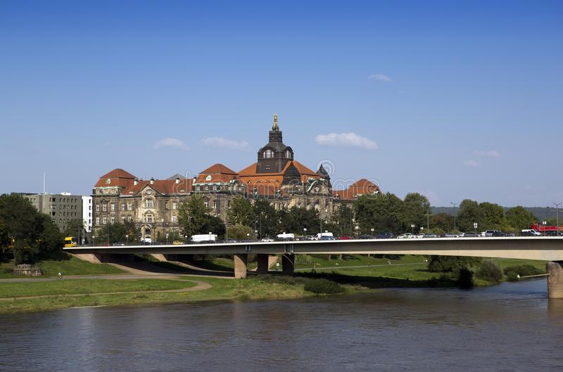 Dresden. Saxon State Chancellery on the Elbe river royalty free stock photography