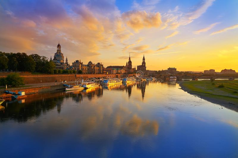 Dresden skyline and Elbe river in Saxony Germany. Dresden skyline reflecion in Elbe river at sunset in Saxony of Germany royalty free stock photography