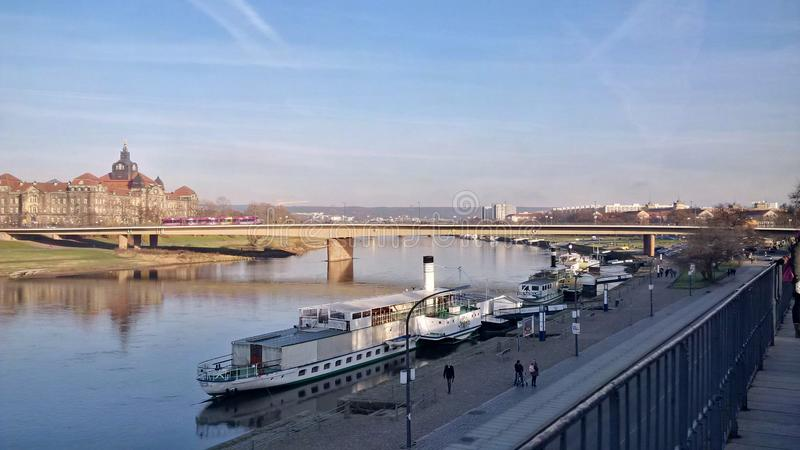Dresden town in Germany famous view on bridge royalty free stock image