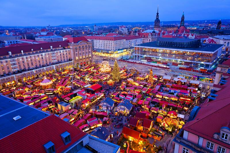 Historical Christmas market in Dresden, Germany. Historical Christmas market names Striezelmarkt in Dresden, Germany royalty free stock images