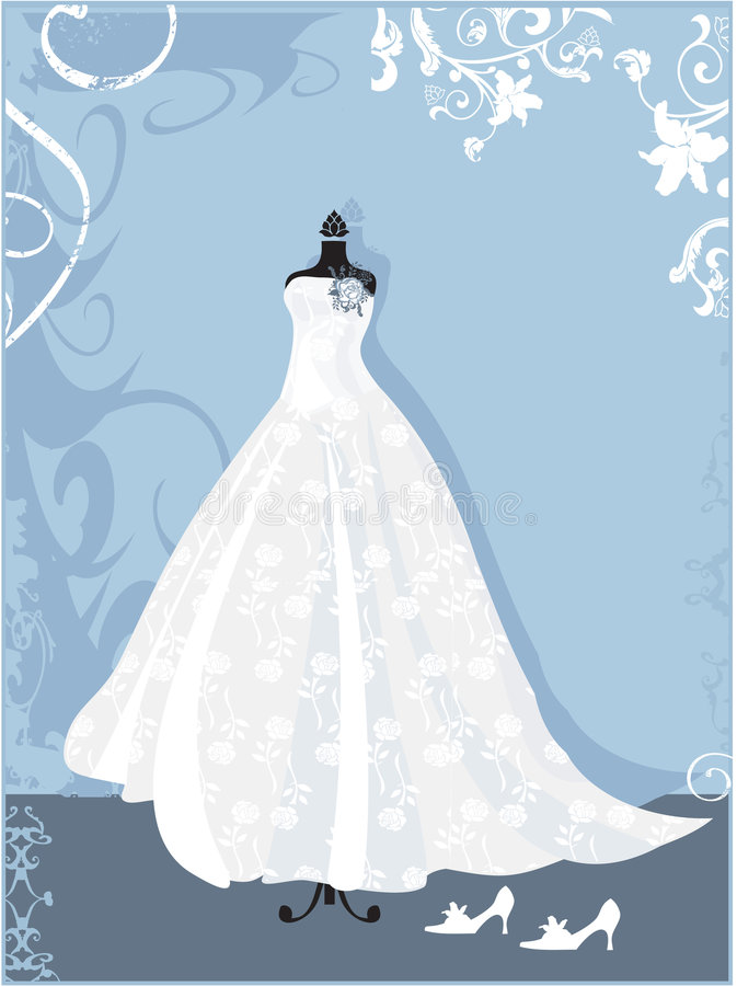 Dress. Wedding dress with rose pattern royalty free illustration