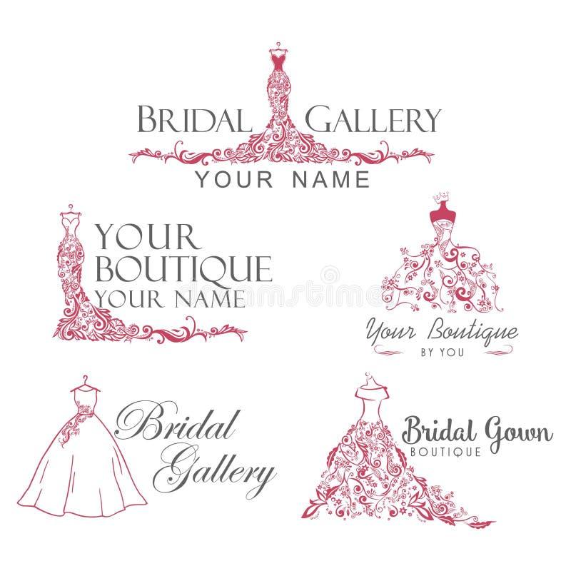Dress Boutique Bridal Collection Logo Set, Icon, Illustration Vector Design vector illustration