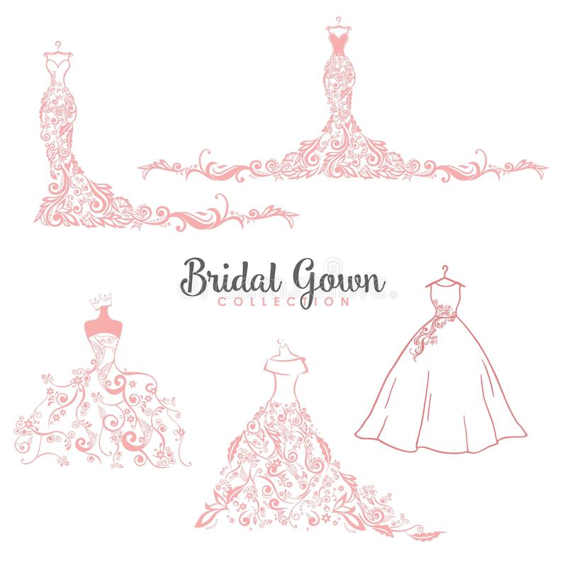 Dress Boutique Bridal Collection Logo Set, Icon, Illustration Vector Design royalty free stock photos