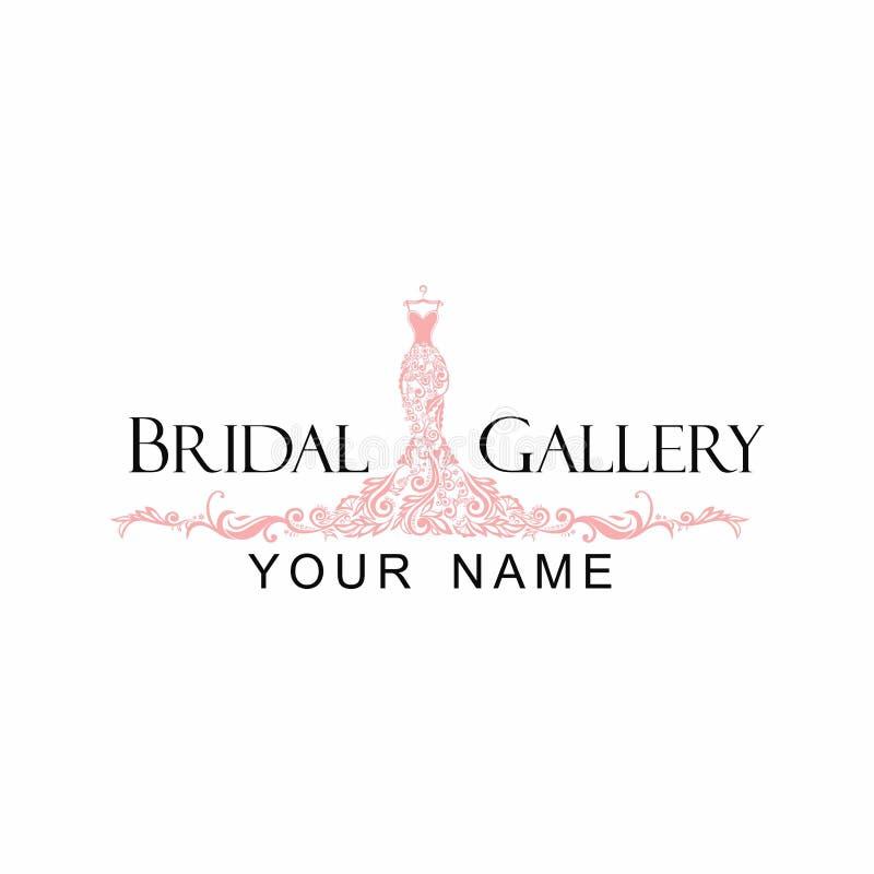 wedding dress logo design dress boutique bridal logo illustration vector design
