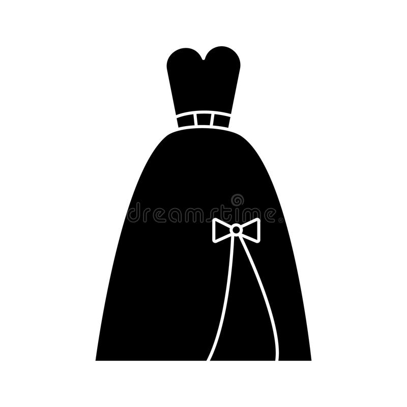 Dress bridal, evening icon, vector illustration, sign on isolated background stock illustration