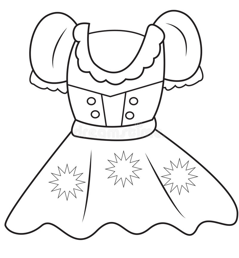 Dress coloring page stock illustration. Illustration of elementary ...