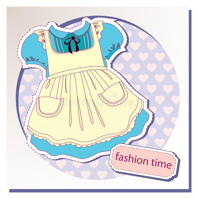 Dress for girls. Illustration of cute dresses for girls on the background with hearts stock illustration