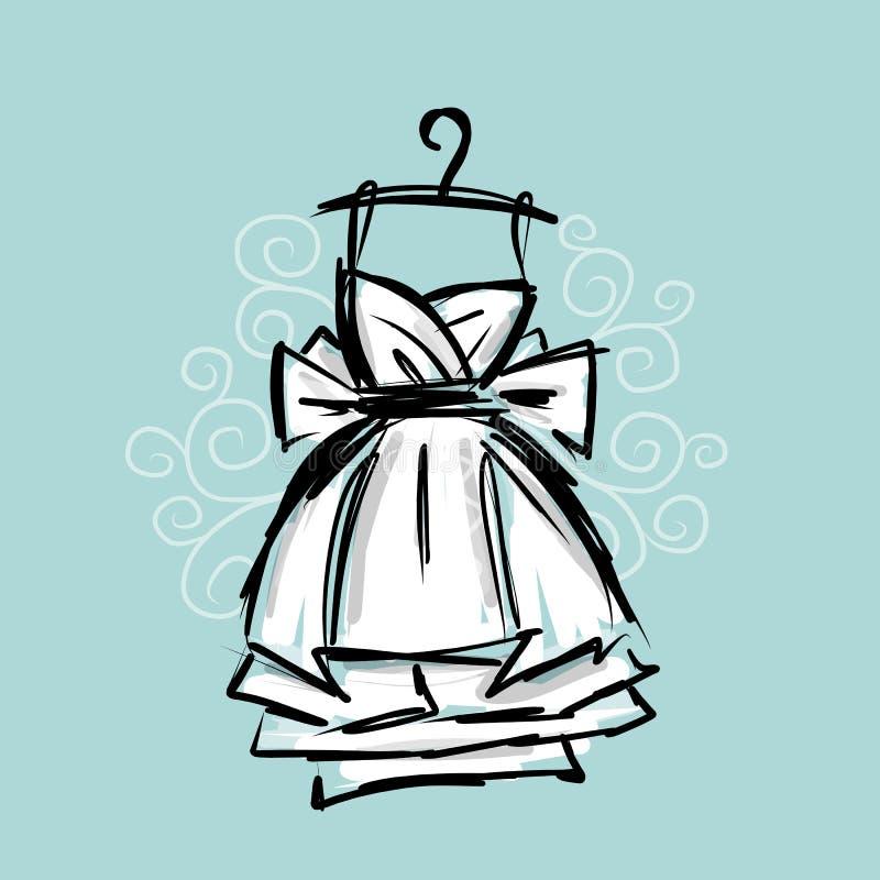 Dress on hangers, sketch for your design vector illustration