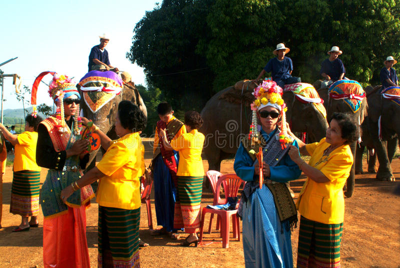 Dress of Novice in Si Satchanalai Elephant Back Ordination Proce stock photos