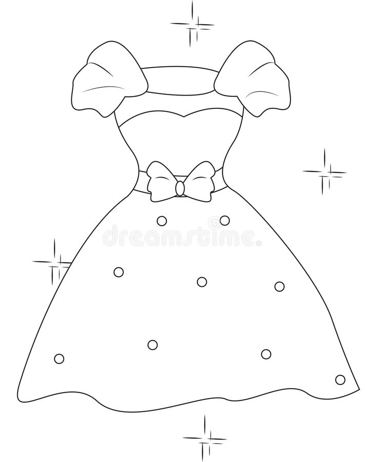 download dress with a ribbon coloring page stock illustration image 53482233